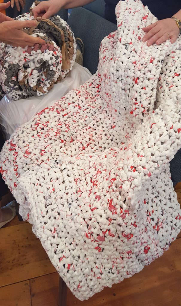 Crochet A Mat For The Homeless Made From Plastic Shopping Bags